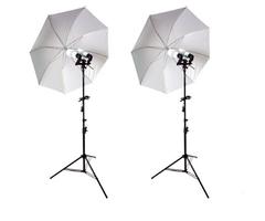 Kit lumina continua cu 2x stativ 190cm+2x umbrela difuzie 84cm+2x suport stativ dublu si bec 85W